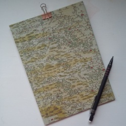 A5 clipboard with historic map print