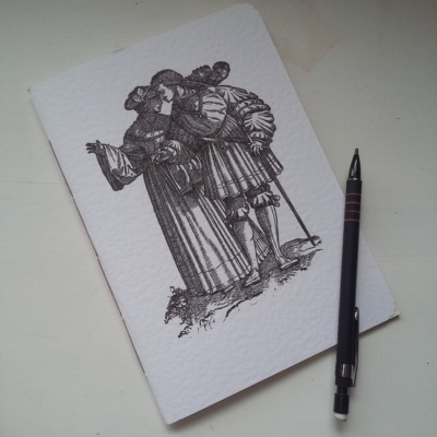 A5 Pamphlet with woodcut image of a fashionable 16th century couple