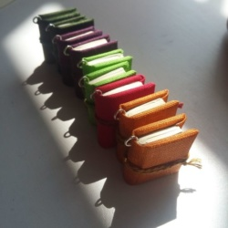 A picture of differently coloured book charms