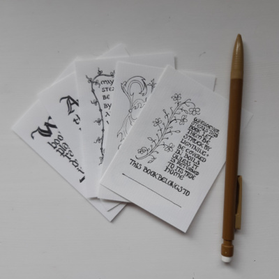 Image showing a set of five different bookplates