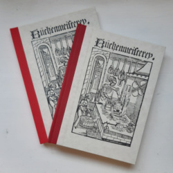 Image showing two books with red spines and paper covers with a woodcut of a medieval kitchen
