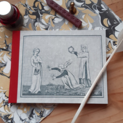 A hardback landscape A5 notebook with an image of two ladies offering up gifts of flowers to a third, with a red cloth spine.