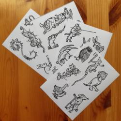 Four sheets of marginalia stickers